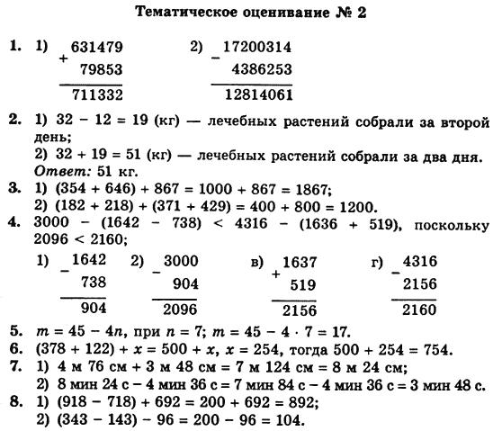 Оценивания для тематического решебник математика