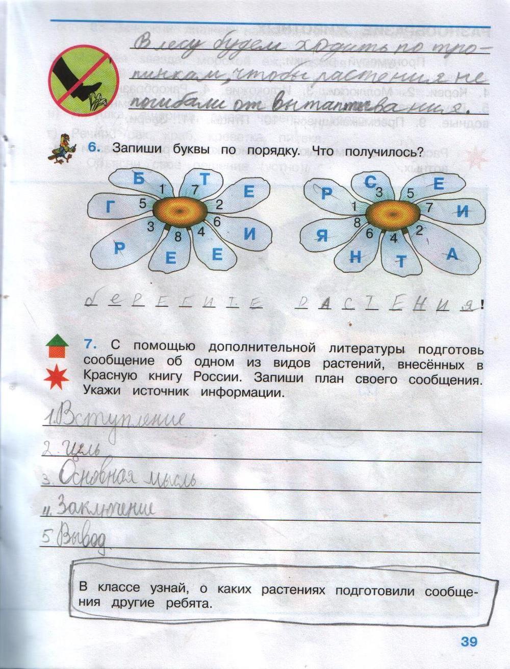 Плешакова задания готовые тетрадь класс рабочая домашние 3