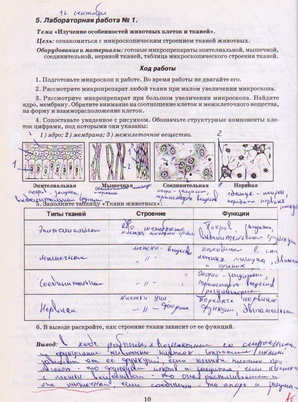 Биология 8 класс лабораторные работы вихренко