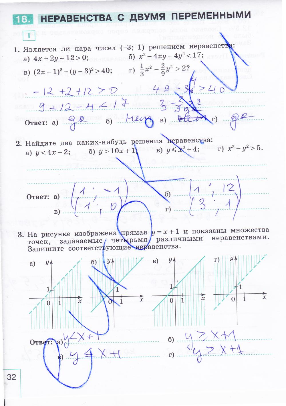 гдз по рабочим тетрадям по алгебре 9 класс