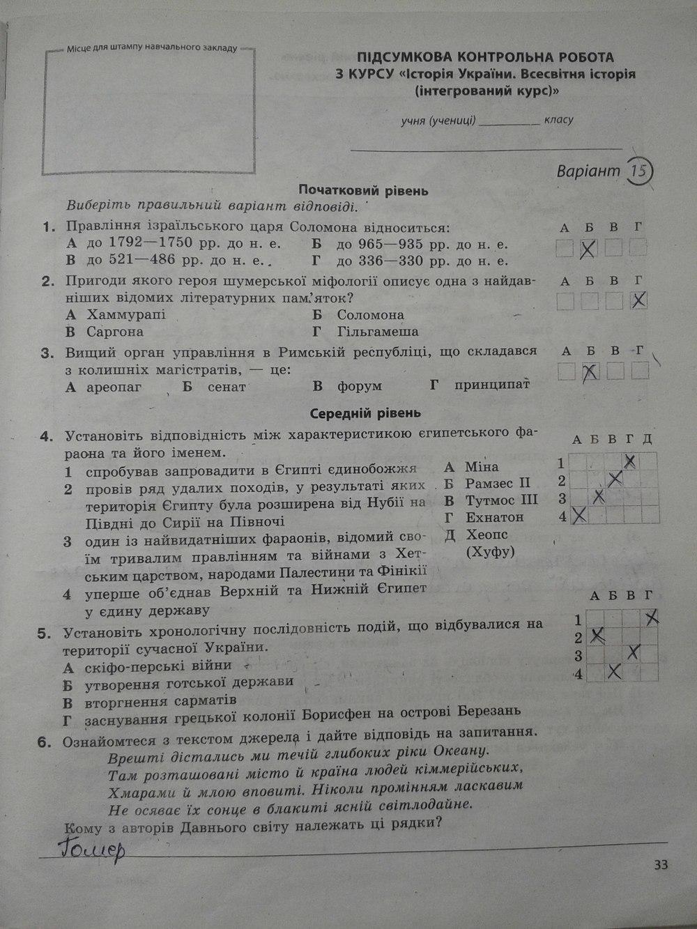 України історії з гдз 5 контрольна клас робота
