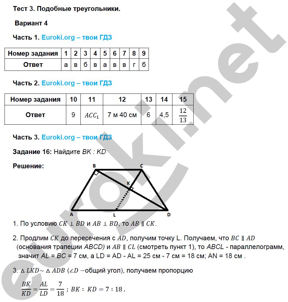 фаркова тесты по гдз 8 геометрии