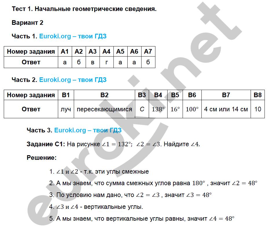 Гдз Тесты По Геометрии 7 Класс Фарков Гдз