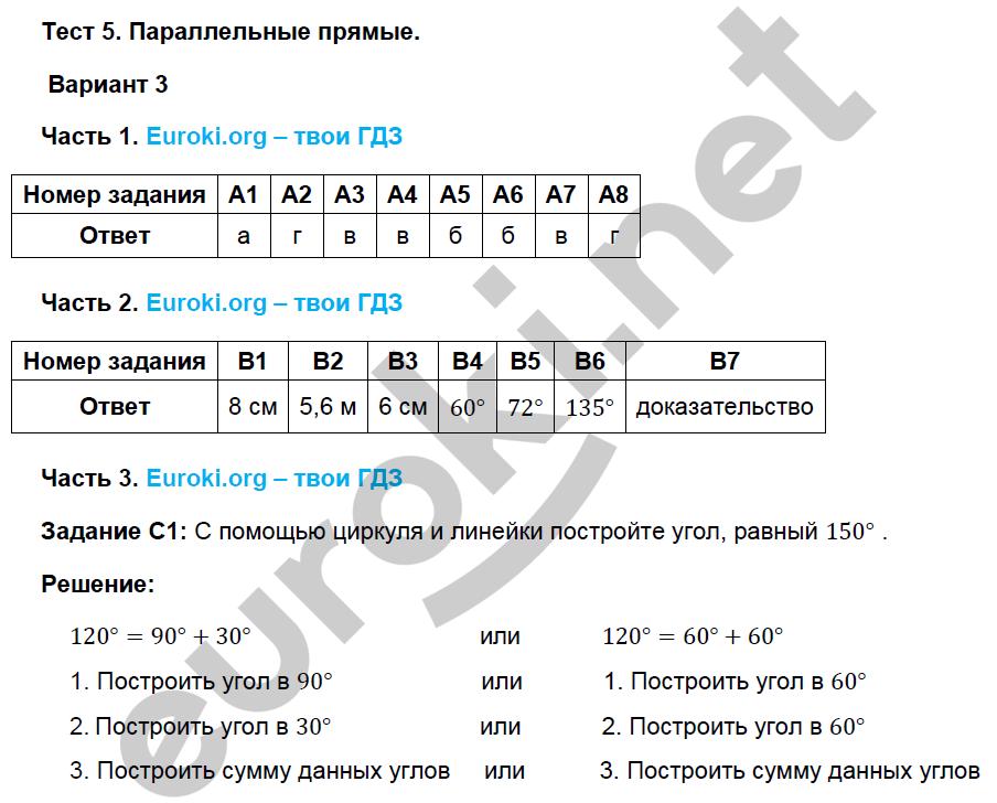 геометрии фарков по класс тесты гдз 7 ответы по