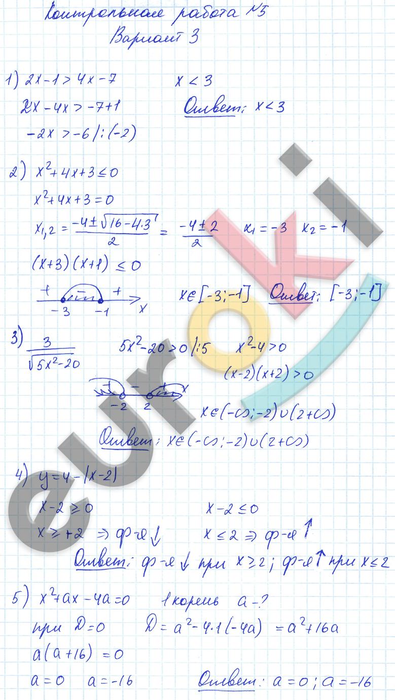 по алгебре класс контрольные и самостоятельные работы Попов  ГДЗ по алгебре 8 класс контрольные и самостоятельные работы Попов Мордкович Контрольные работы К 5