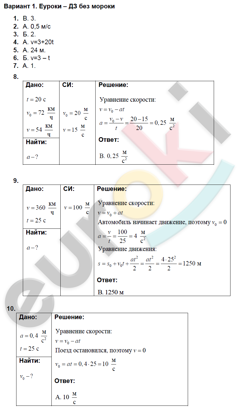 Дидактический материал класс мартынов физике по гдз 9