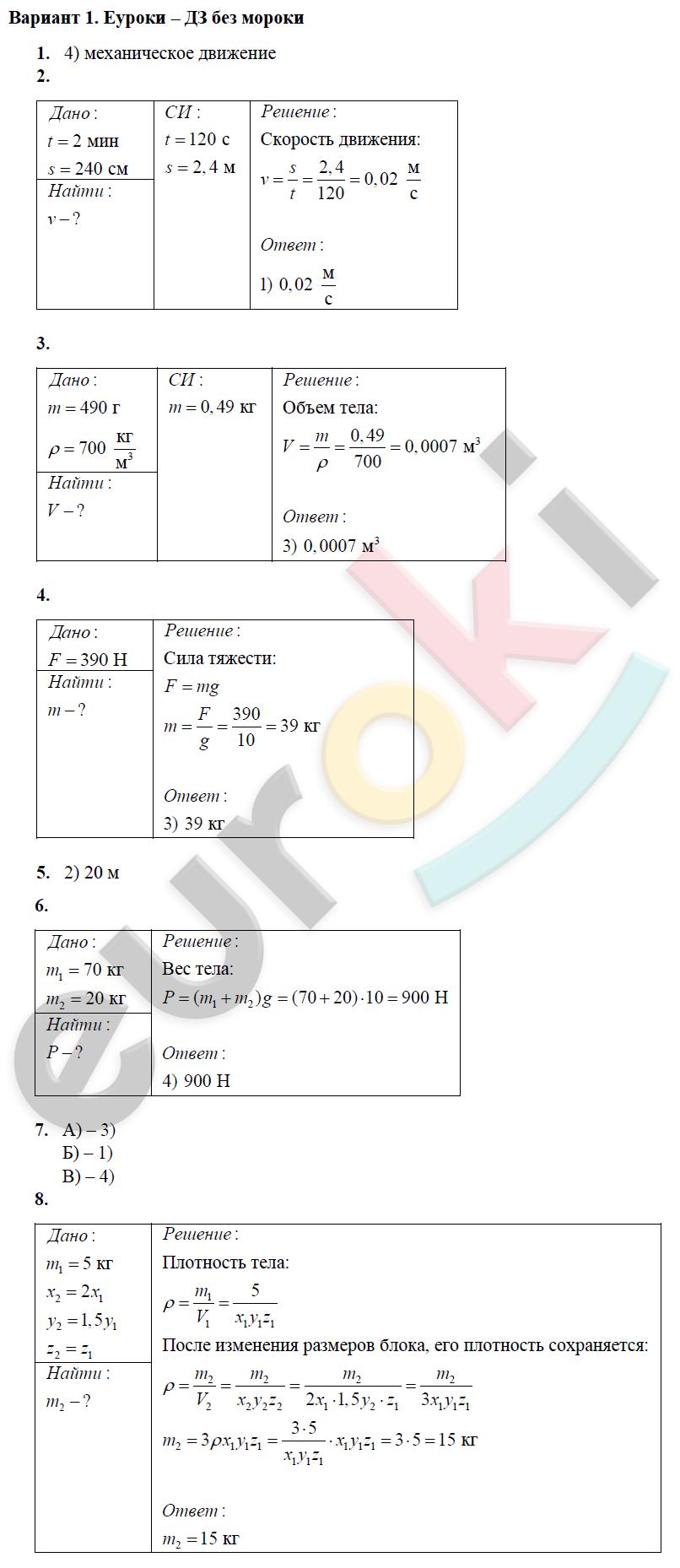 гдз по контрольным и самостоятельным работ по физике 7 класс громцева