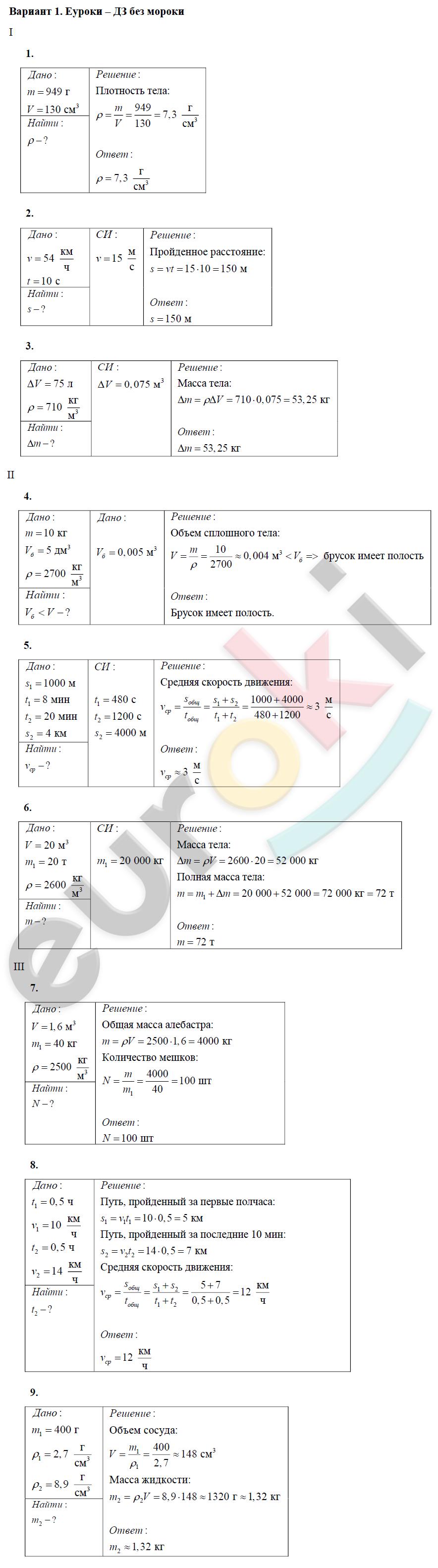 физика марон класс гдз контрольные работы 7