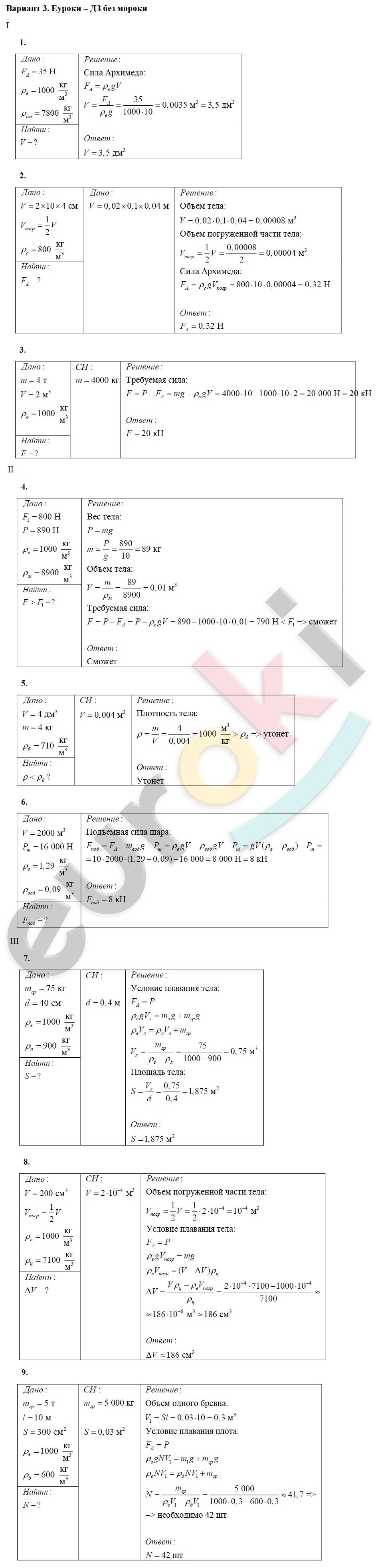 материал дидактический 7 физике задания по класс готовые домашние