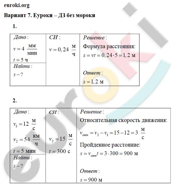 физика 7 класс 1 вариант