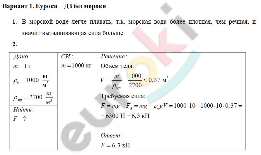 Контрольная Работа По Архимедовой Силе 7 Класс Решебник