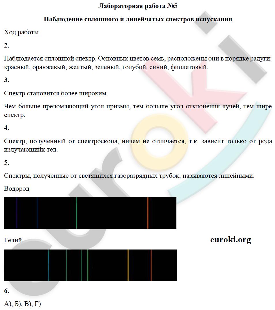 сплошного спектров испускания и линейчатых гдз наблюдение