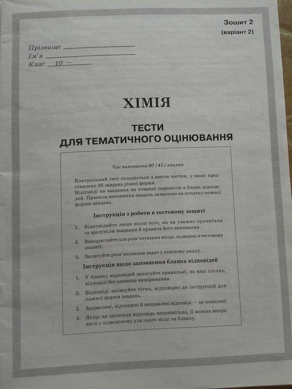 Хімія 10 клас. Зовнішнє оцінювання (підготовка)
